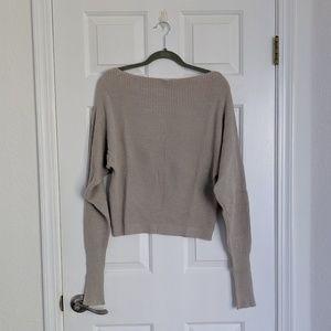 Lovestitch Oatmeal Off Shoulder Sweater